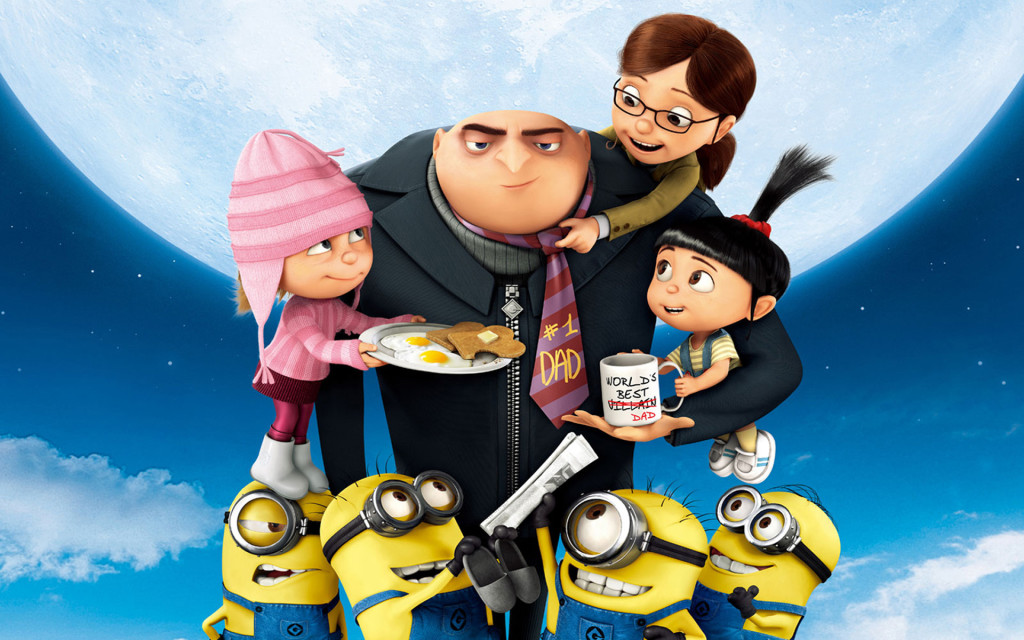 Gru with his little girls and yellow minions