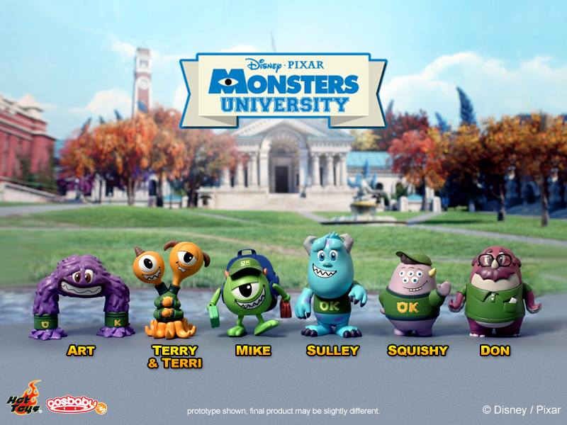 Small figures of main heroes in Monsters University