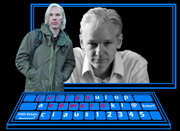 Pretty picture showing Cumberbatch and Assange
