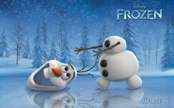 Poster of Frozen 2013 cartoon movie with snowman in it