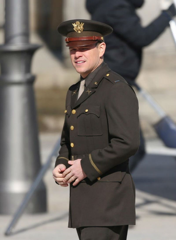 Matt Damon as one of the main heroes in the Monuments Men 2013 movie