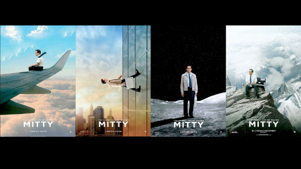 Four different posters of the Secret Life of Walter Mitty 2013 movie
